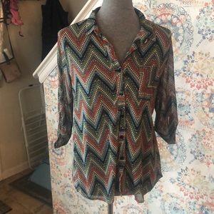 Sheer buttoned shirt. Size L